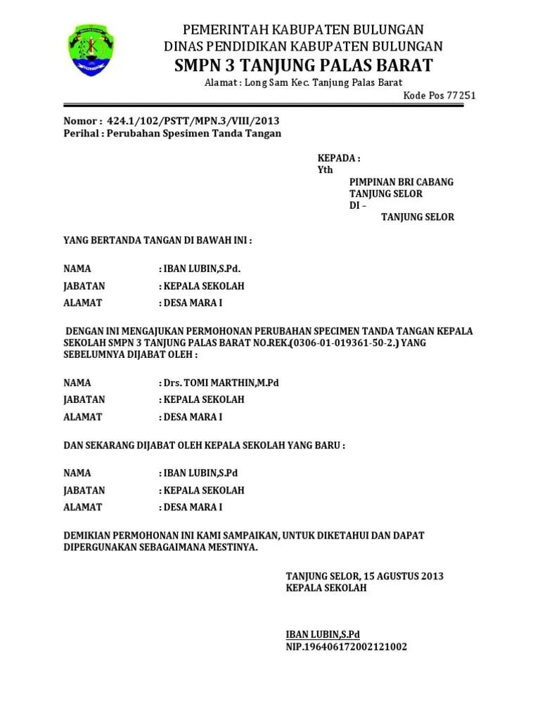 Surat Permohonan Pergantian Kepala Sekolah : surat, permohonan, pergantian, kepala, sekolah, Contoh, Surat, Permohonan, Perubahan, Specimen, Tanda, Tangan, Berbagi