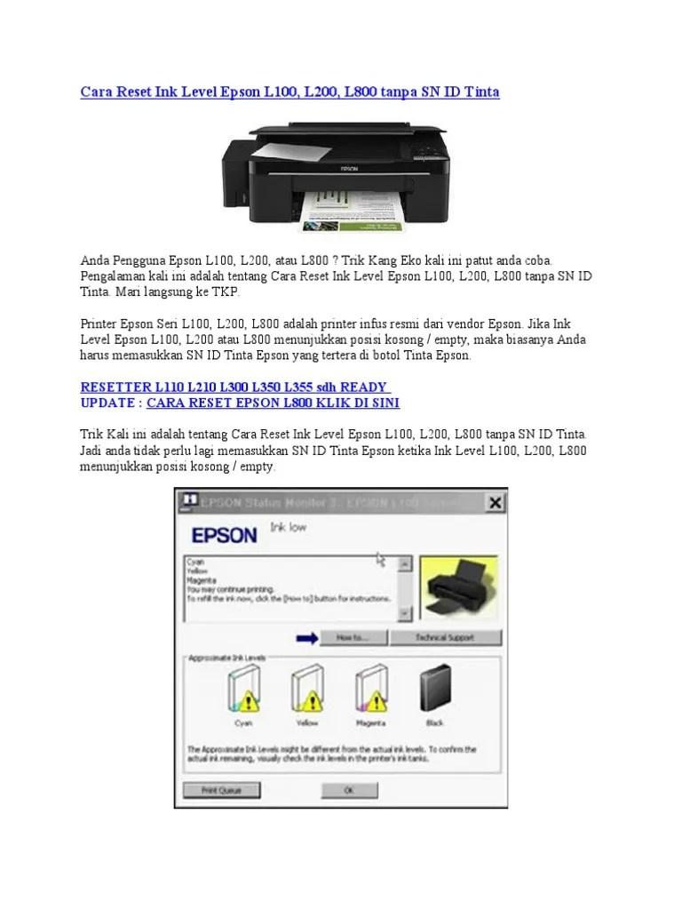 Epson L210 Reset Ink Level : epson, reset, level, Reset, Level, Epson