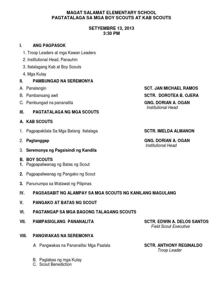 1 Program For Investiture I Pambungad Na Seremonya - Resume