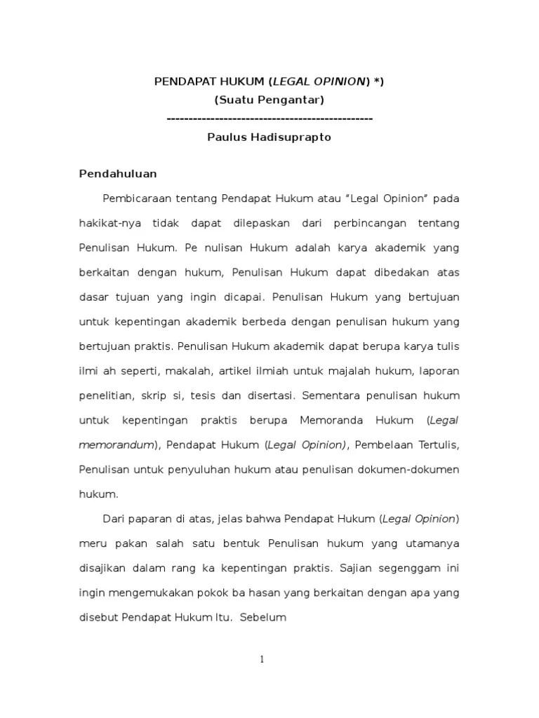 Contoh Legal Opinion Kasus Pidana : contoh, legal, opinion, kasus, pidana, LEGAL, OPINION.rtf