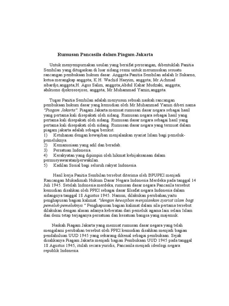 Sebutkan Isi Piagam Jakarta : sebutkan, piagam, jakarta, Rumusan, Pancasila, Dalam, Piagam, Jakarta