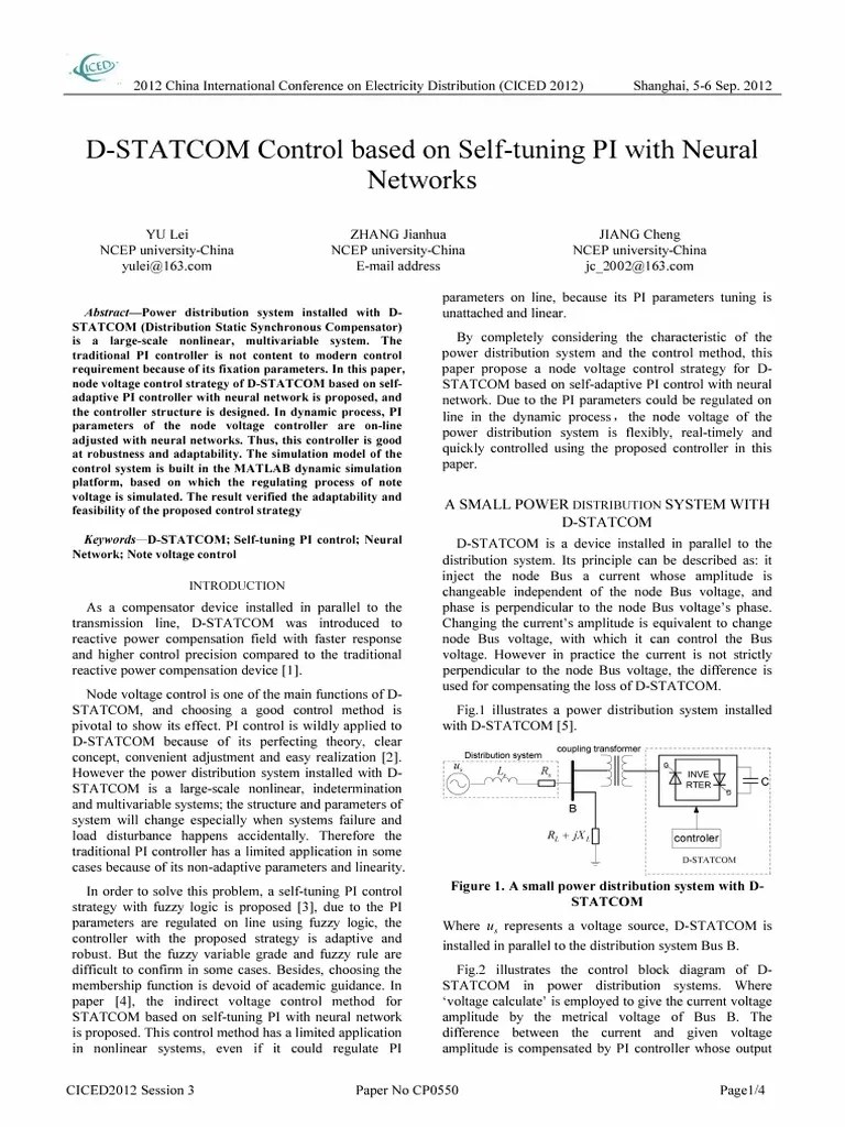 hight resolution of d statcom control based on self tuning pi with neural networks artificial neural network electric power distribution