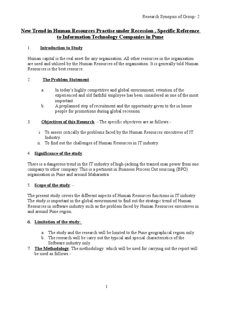 Synopsis Format Business Science