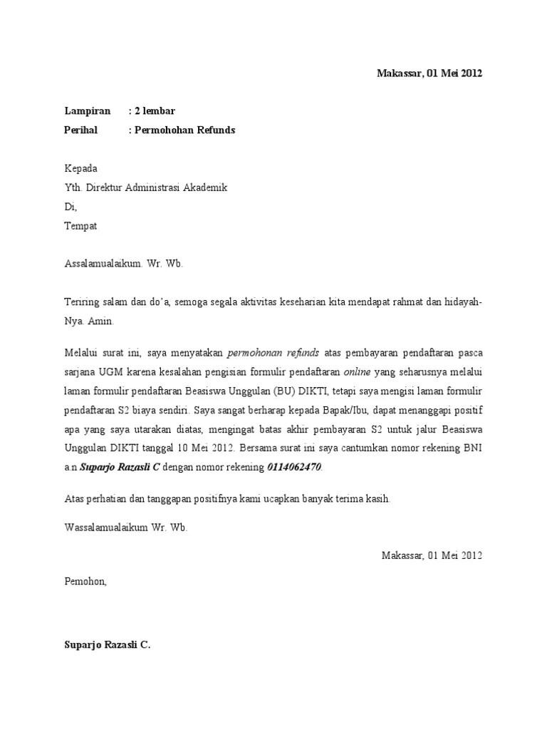 Contoh Contoh Surat Izin Kumpulan Contoh Surat Permohonan Pemulangan Duit