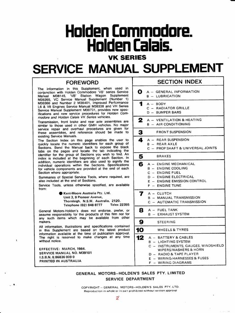 VK Commodore Workshop Manual