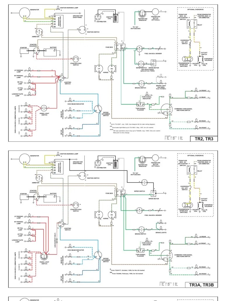 wiring diagrams for tr2 tr3 tr4 and tr4a rear wheel drive vehicles machines [ 768 x 1024 Pixel ]