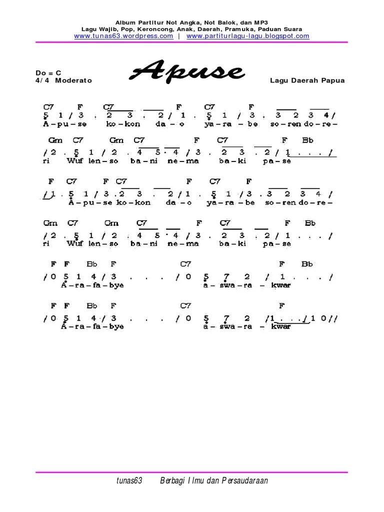 Lagu Anak Dan Notasinya : notasinya, Angka, Apuse, Terbaru