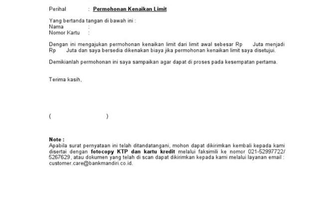 Surat Pernyataan Kenaikan Limit Doc Cute766