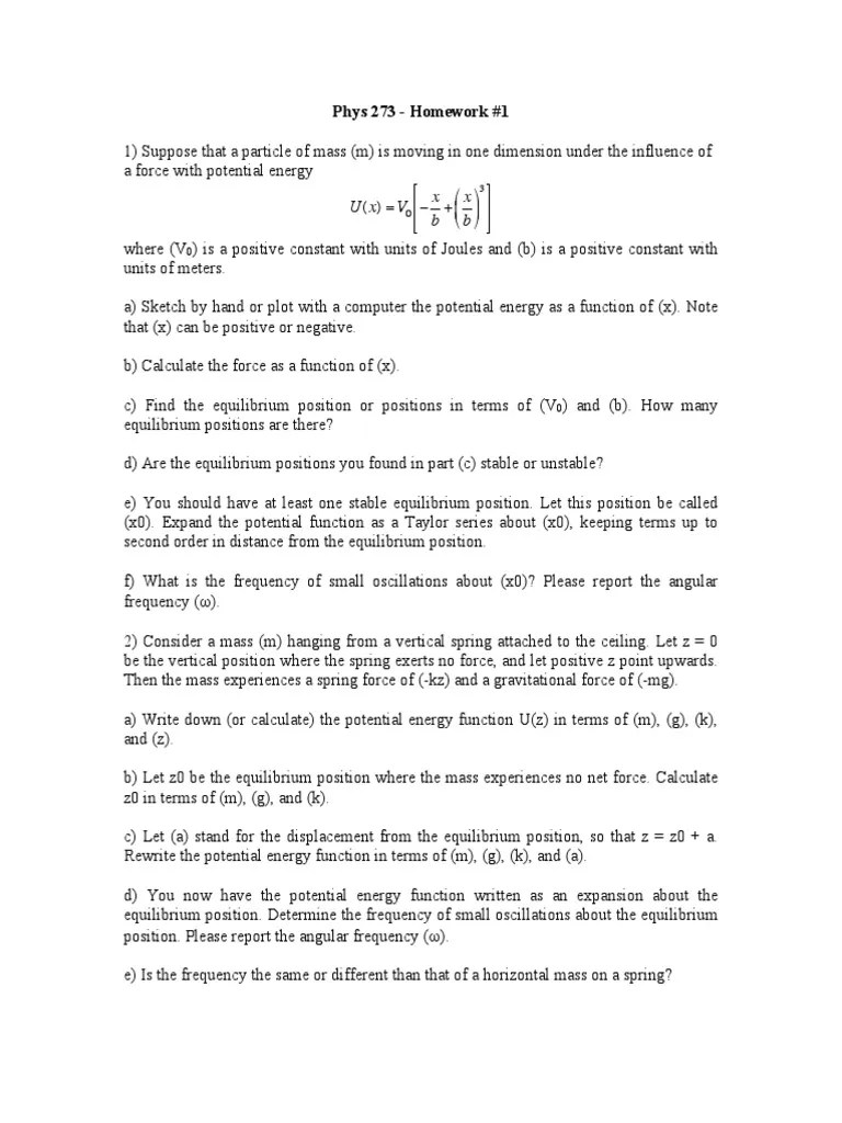 Homework1 Pdf Velocity Classical Mechanics