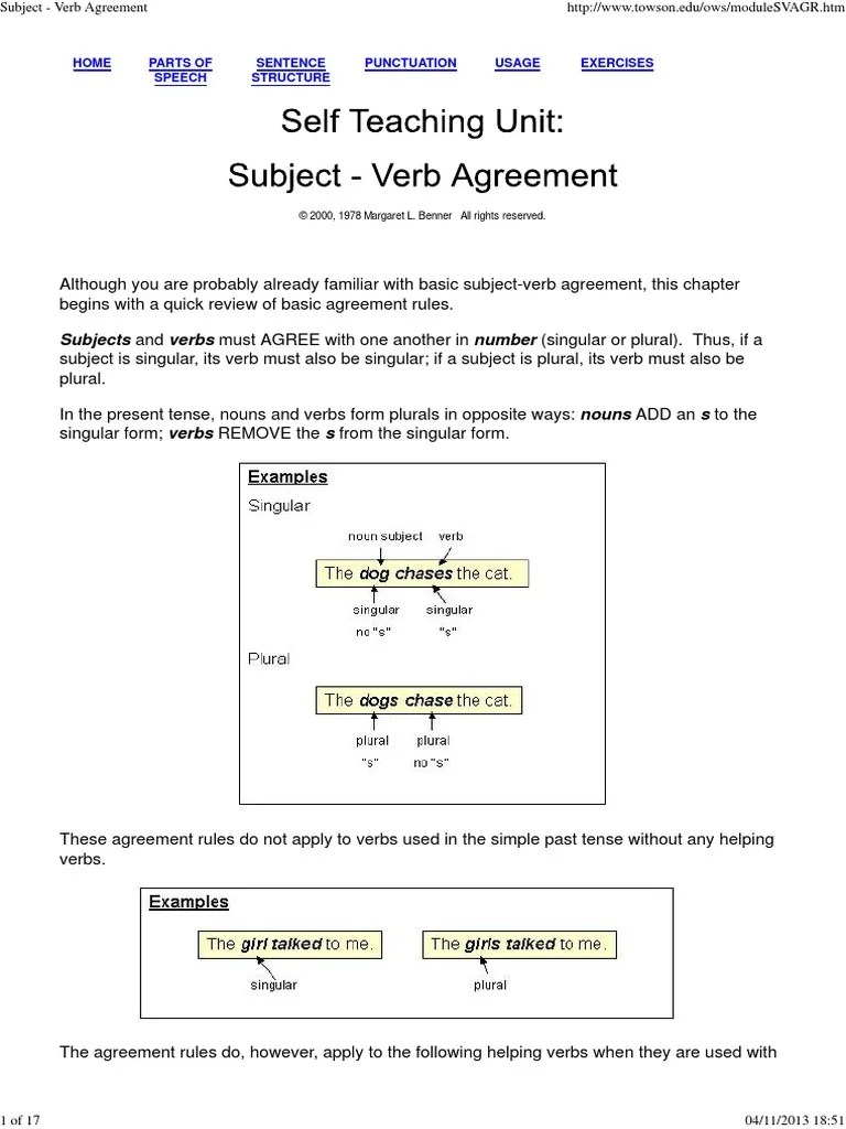 Subject - Verb Agreement.pdf | Grammatical Number | Subject (Grammar)