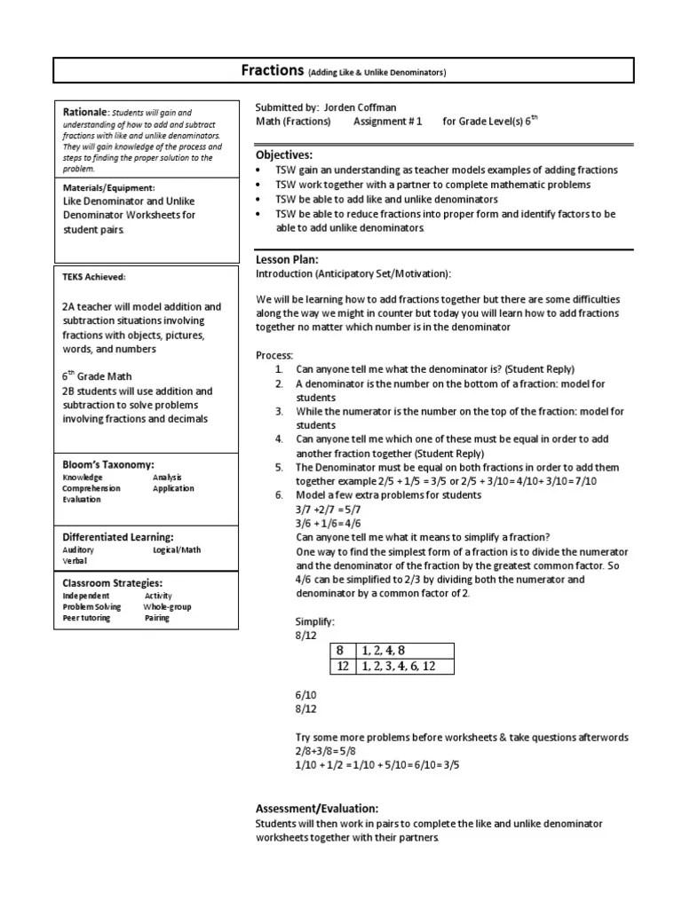 medium resolution of Fractions: Objectives   Fraction (Mathematics)   Lesson Plan