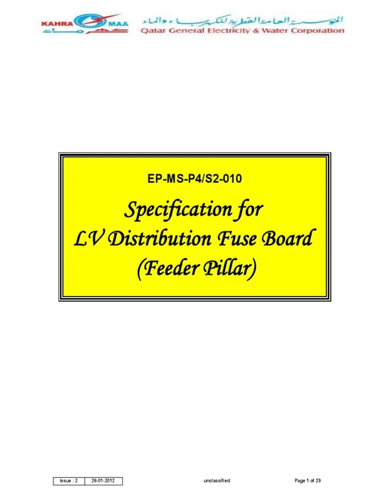 lv distribution fuse board feeder pillar kahramaa specification fuse electrical insulator electricity  [ 768 x 1024 Pixel ]