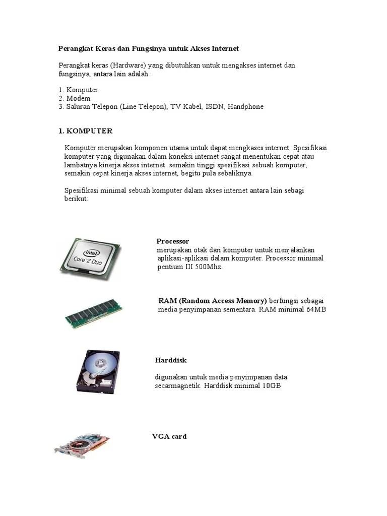 Perangkat Keras Internet Beserta Fungsinya : perangkat, keras, internet, beserta, fungsinya, Perangkat, Keras, Fungsinya, Untuk, Akses, Internet.doc