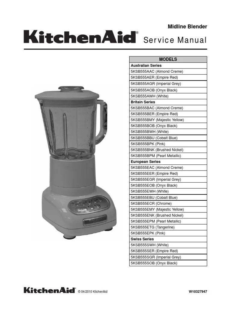 kitchen aid service commercial grease filters kitchenaid manual 5ksb555 blender nature