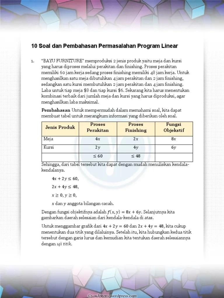 Contoh Soal Model Matematika : contoh, model, matematika, Hizenna.blogg.se, Pembahasan, Program, Linier.doc