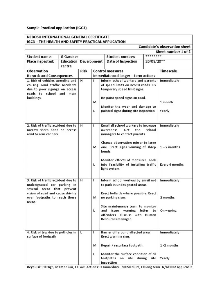 medium resolution of nebosh practical final sample 22 occupational safety and health traffic collision