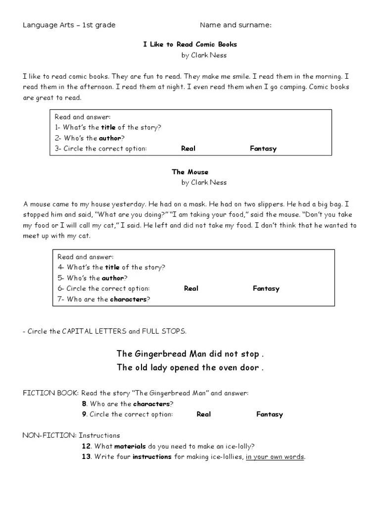 small resolution of Language Arts WORKSHEET 1st Grade
