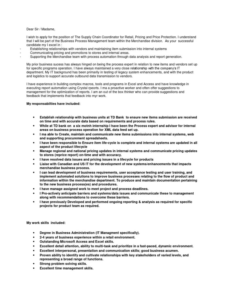 Sample Cover Letter  Business Process  Product Lifecycle