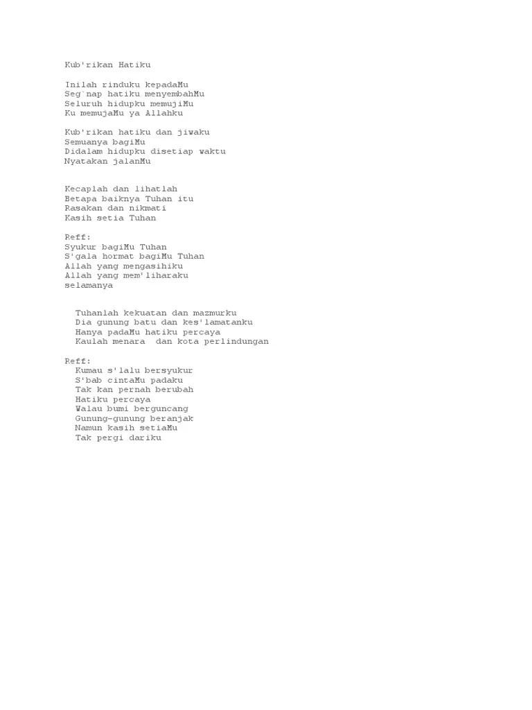 Lirik Ku Brikan Hatiku : lirik, brikan, hatiku, Lirik, Kubrikan, Hatiku, Jiwaku, Rasanya