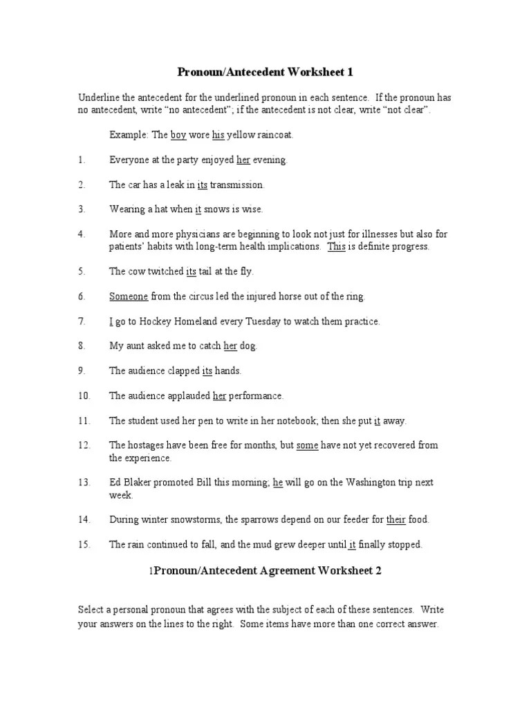 small resolution of Pronoun Antecedent Worksheet   Syntactic Relationships   Language Mechanics