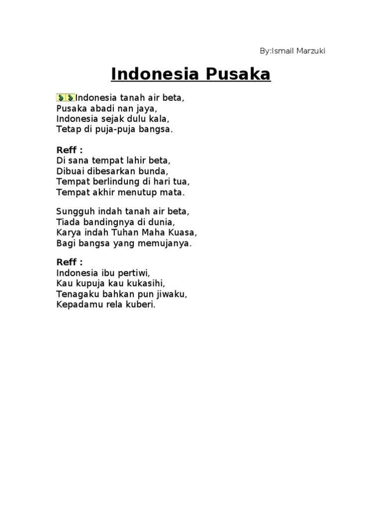 Syair Lagu Indonesia Pusaka : syair, indonesia, pusaka, Lirik, Indonesia, Pusaka.doc