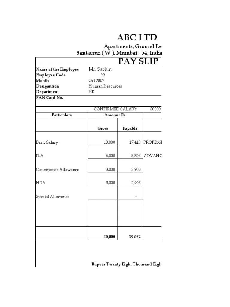 Salary Slip Format 136