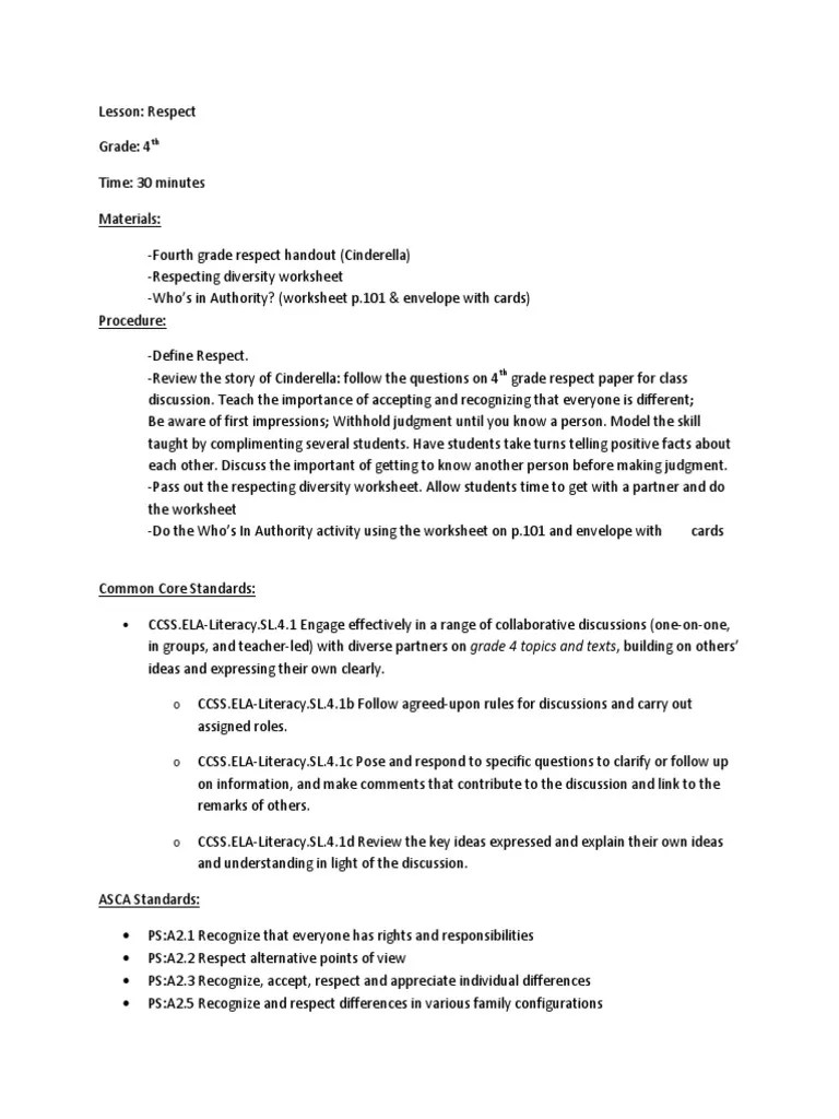 medium resolution of 4th grd respect lesson