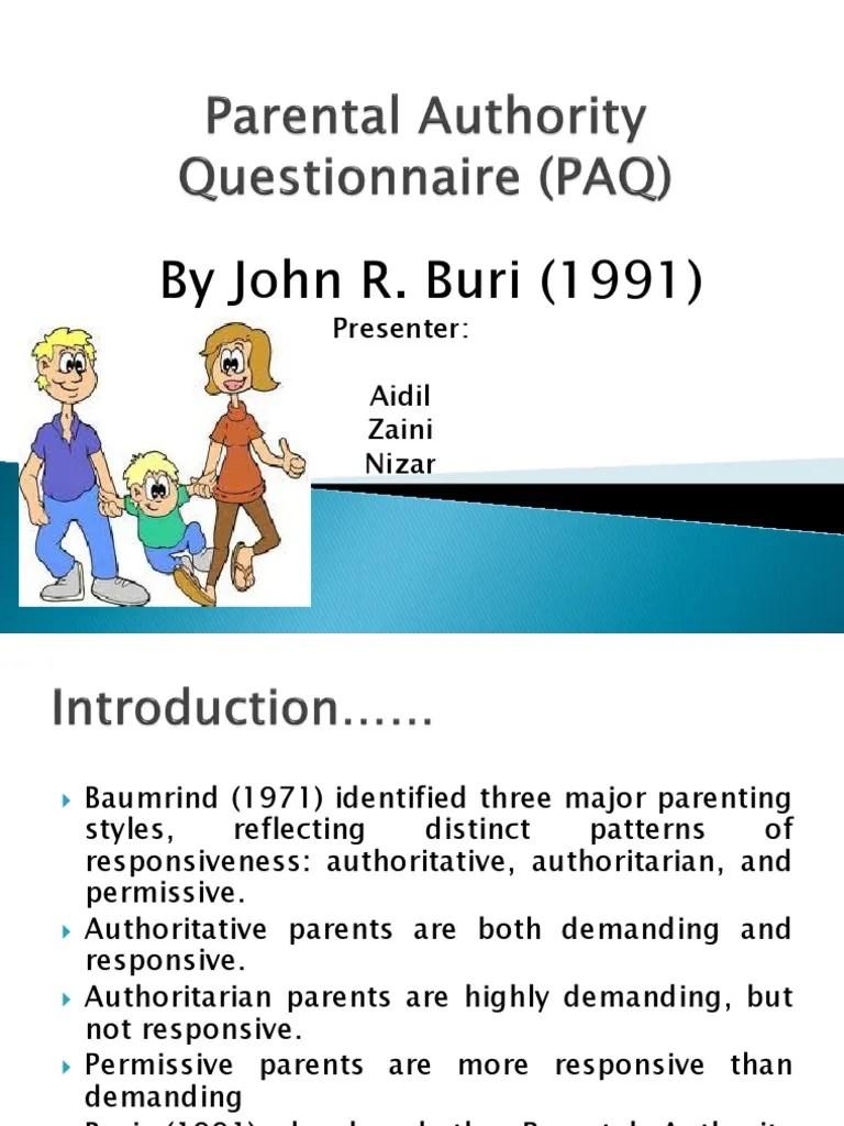 Parental Authority Questionnaire Paq Parenting