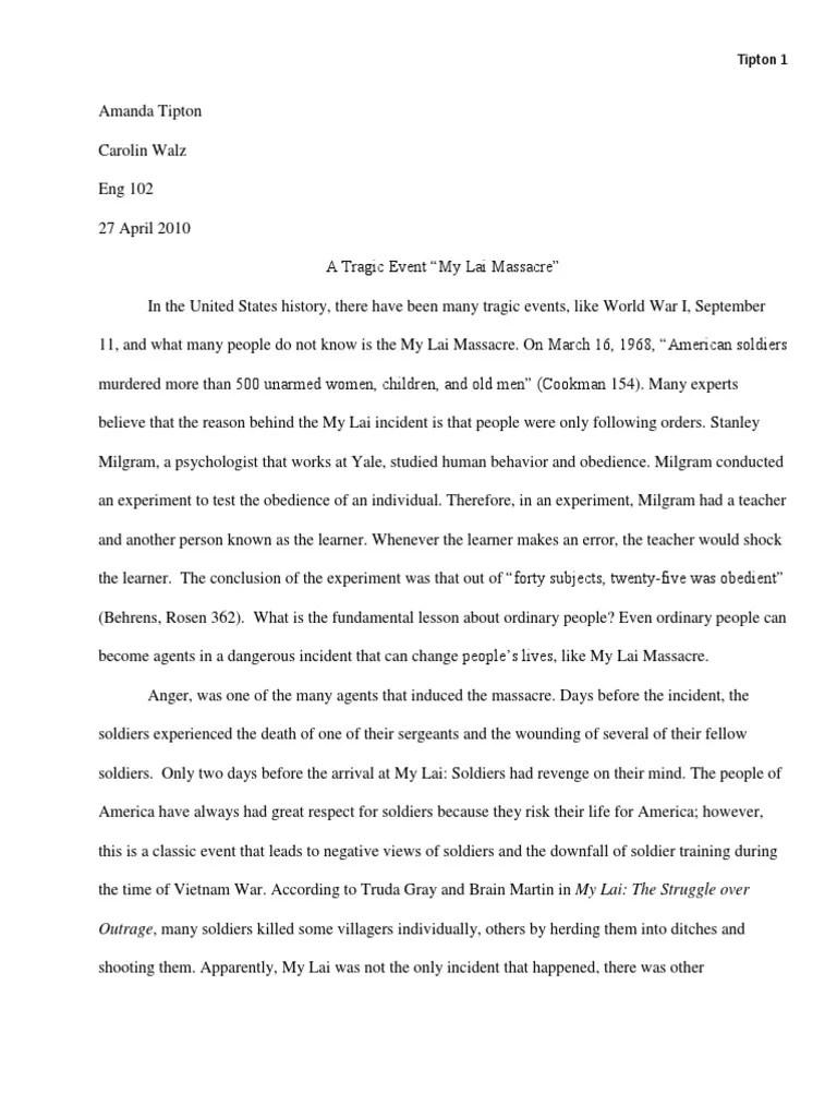 Research Paper My Lai Massacre 1 Obedience Human Behavior