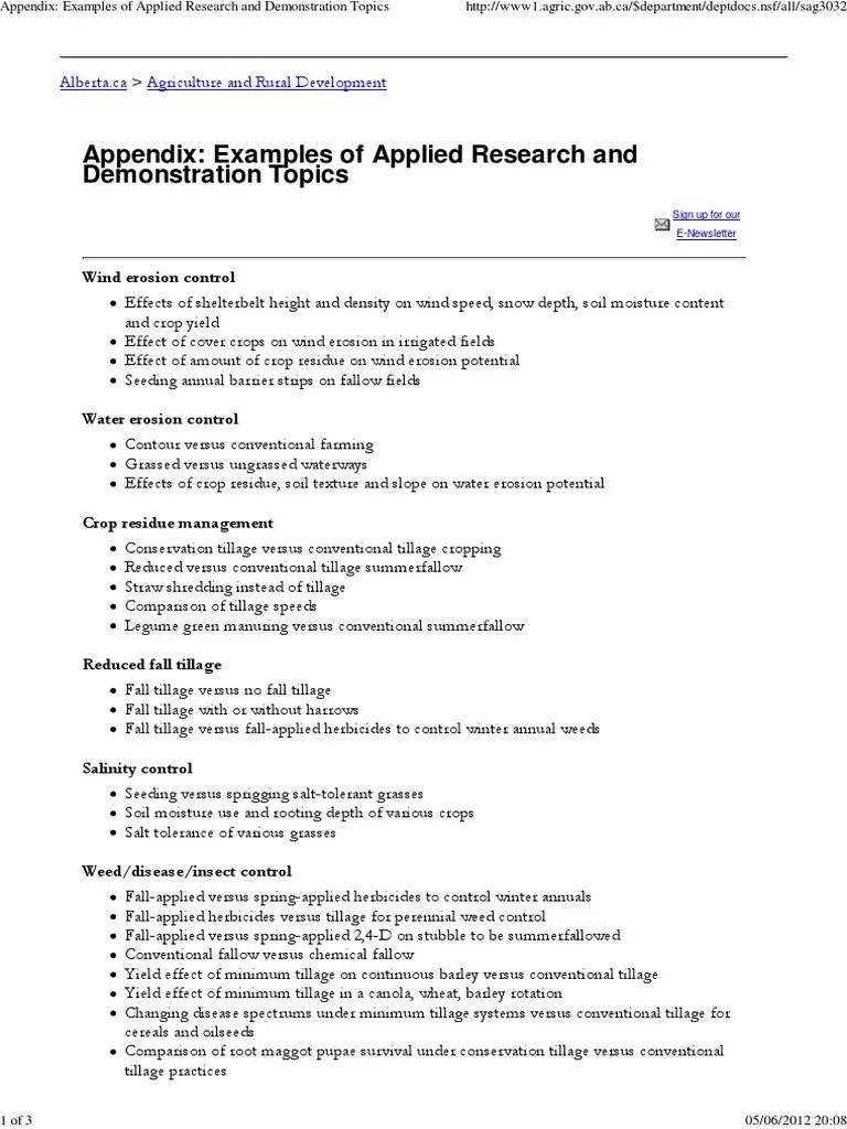 Appendix Examples Of Applied Research And Demonstration Topics