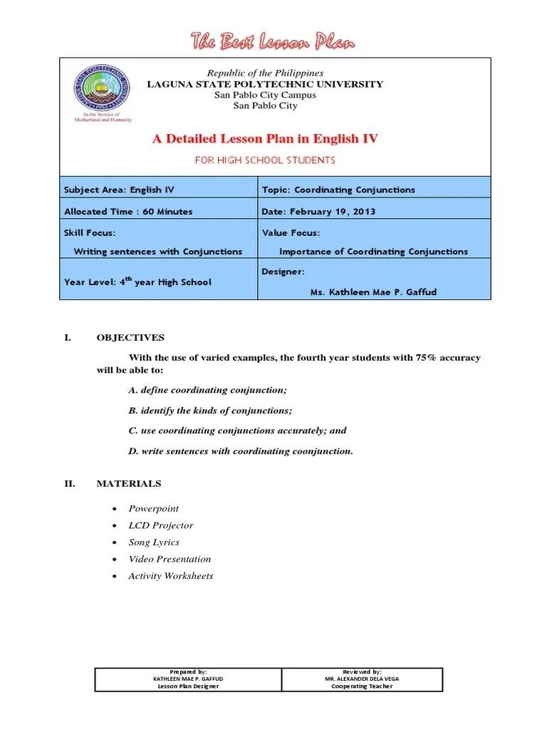 medium resolution of Lesson Plan coordinating conjunction.docx   Lesson Plan   Sentence  (Linguistics)