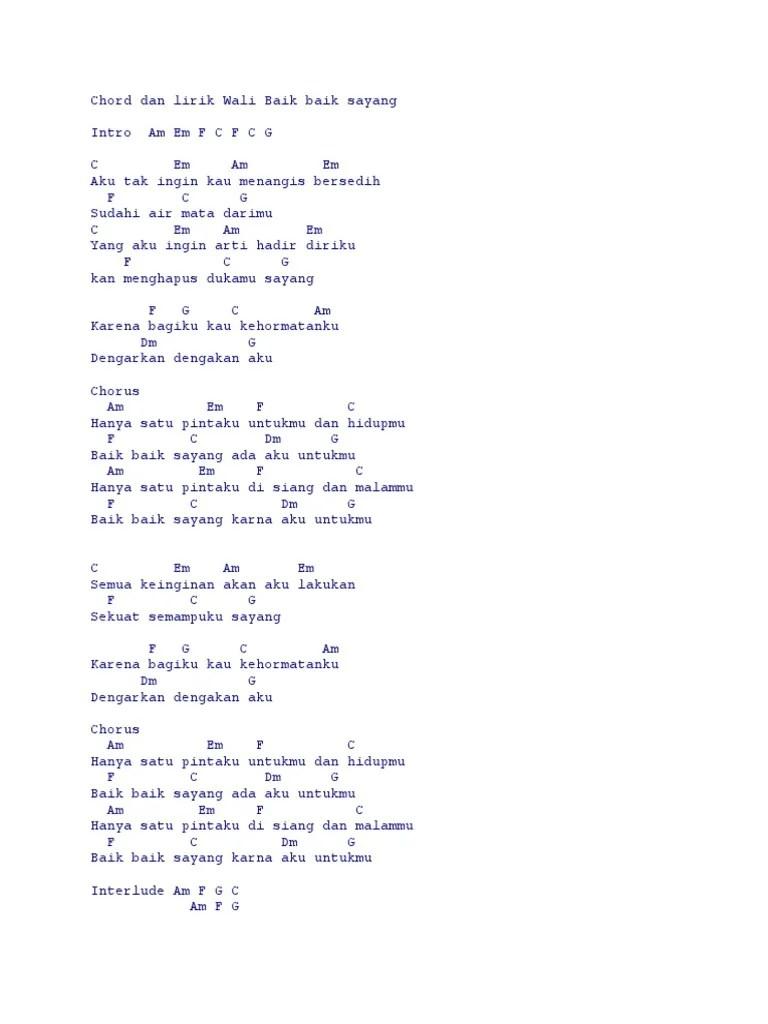 Chord Gitar Wali Baik Baik Sayang : chord, gitar, sayang, Lirik, Sayang, Chord