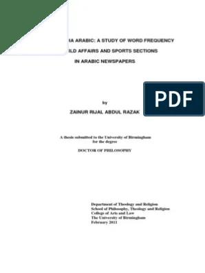 Frequency of Arabic Words in Media | Grammatical Gender ...