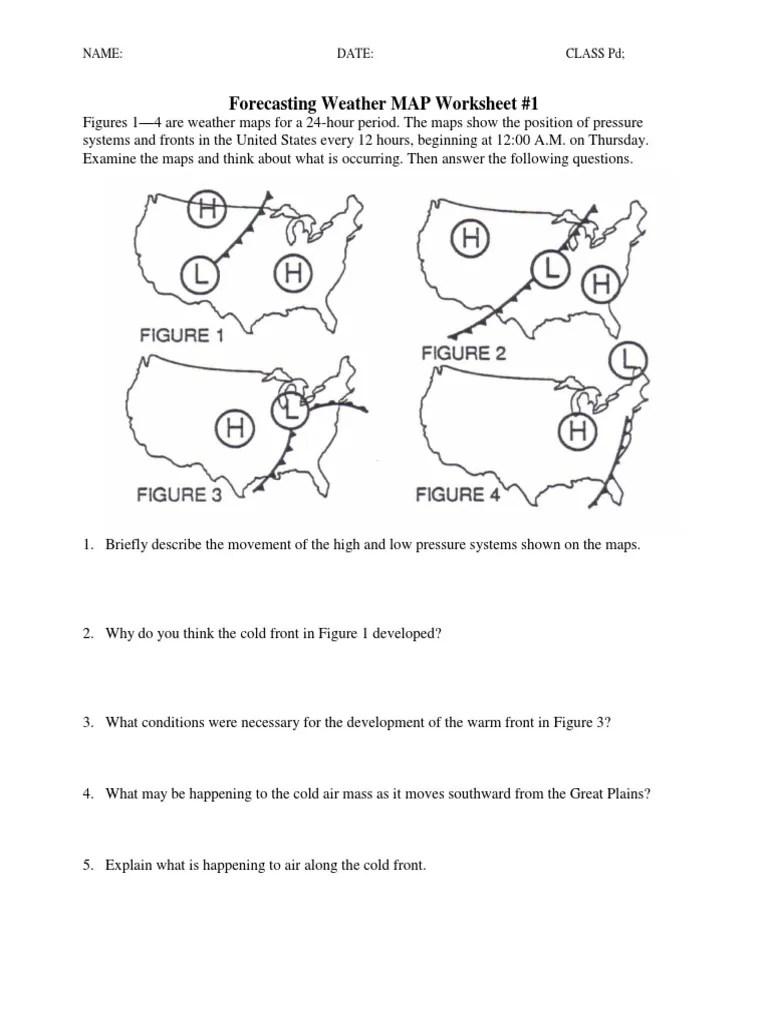 medium resolution of Forecasting Weather Map Worksheet 1 - Nidecmege