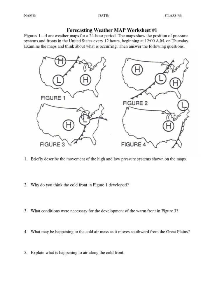 small resolution of Forecasting Weather Map Worksheet 1 - Nidecmege