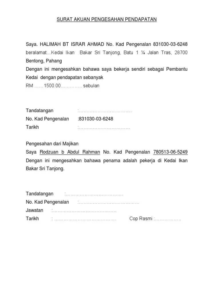Contoh Surat Akuan Sumpah Pendapatan Terkini Cute766