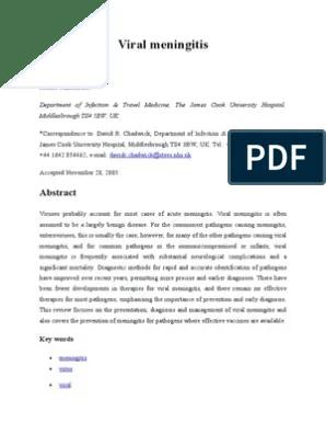 Viral Meningitis Jurnal YG DIPRINT | Inflammation | Poliomyelitis