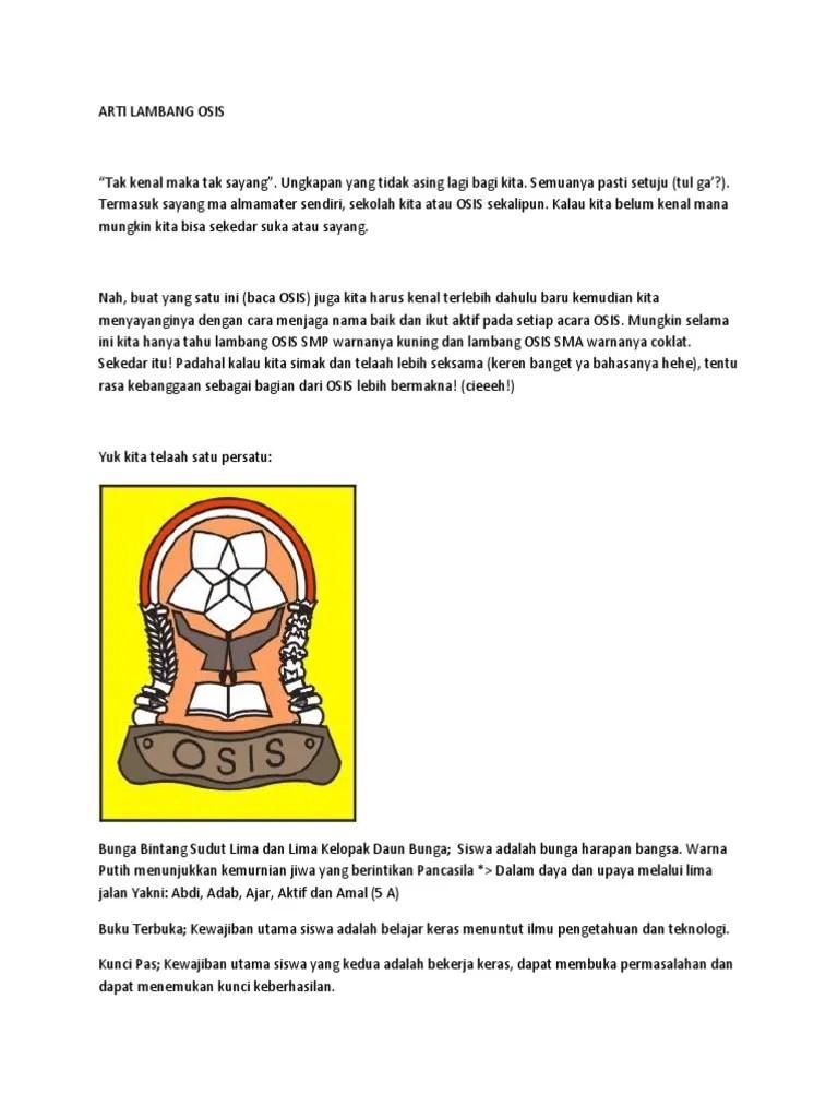 Arti Lambang Osis : lambang, Lambang