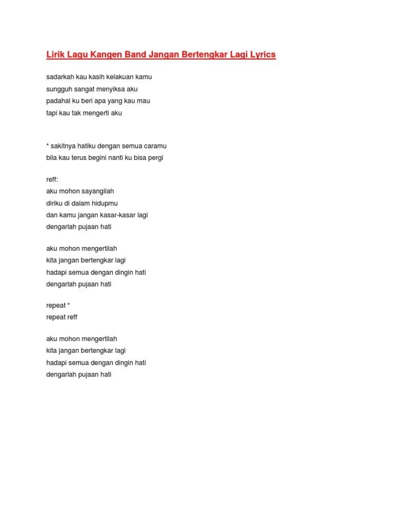 Kangen Band Jangan Bertengkar Lagi : kangen, jangan, bertengkar, Lirik, Kangen, Jangan, Bertengkar, Lyrics