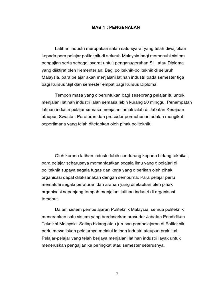 Contoh Format Laporan Akhir Latihan Industri Politeknik Laporan 7 Cute766