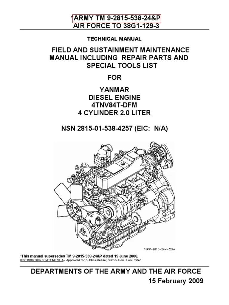 small resolution of tm 9 2815 583 24p yanmar diesel engine 4tnv84t dfm nsn 2815 01 538 4257 internal combustion engine turbocharger