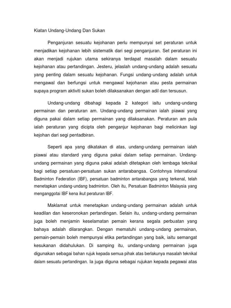 Peraturan Permainan Bulu Tangkis Yang Ditetapkan Oleh Ibf : peraturan, permainan, tangkis, ditetapkan, Essei, Undang-undang