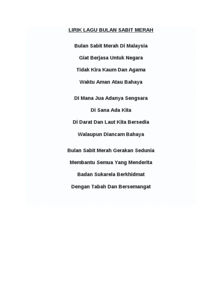 Teks Lagu Bulan Sabit : bulan, sabit, Lirik, Bulan, Sabit, Merah