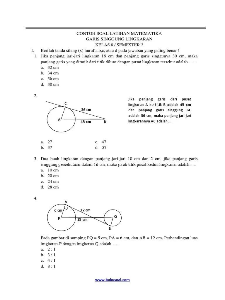 Contoh Soal Garis Singgung Lingkaran : contoh, garis, singgung, lingkaran, Contoh, Latihan, Matematika, Garis, Singgung, Lingkaran, Kelas