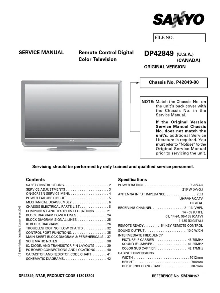 medium resolution of sanyo dp42849 00 lcd service manual electrostatics field schematic diagram dp42849 sanyo tv