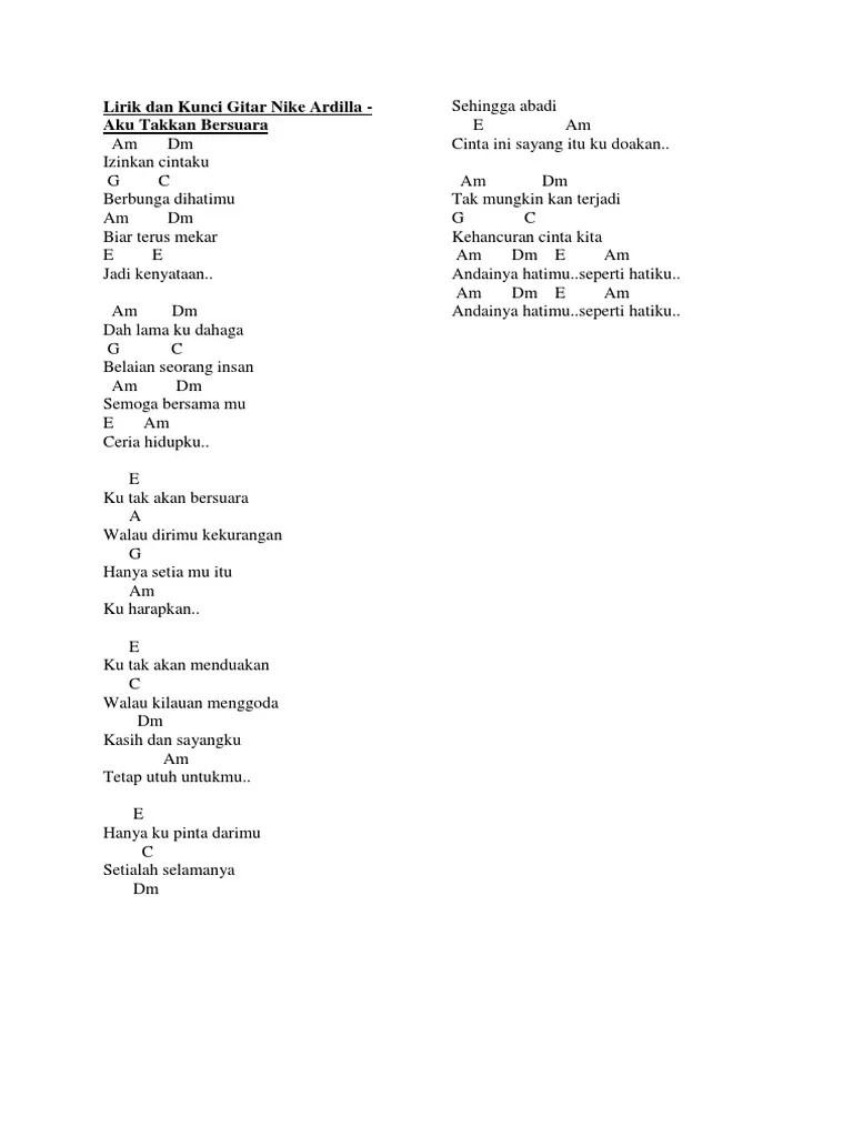 Chord Ku Tak Akan Bersuara : chord, bersuara, أستراليا, يصرف, تنفس, Lirik, Ardila, Bersuara, Dsvdedommel.com