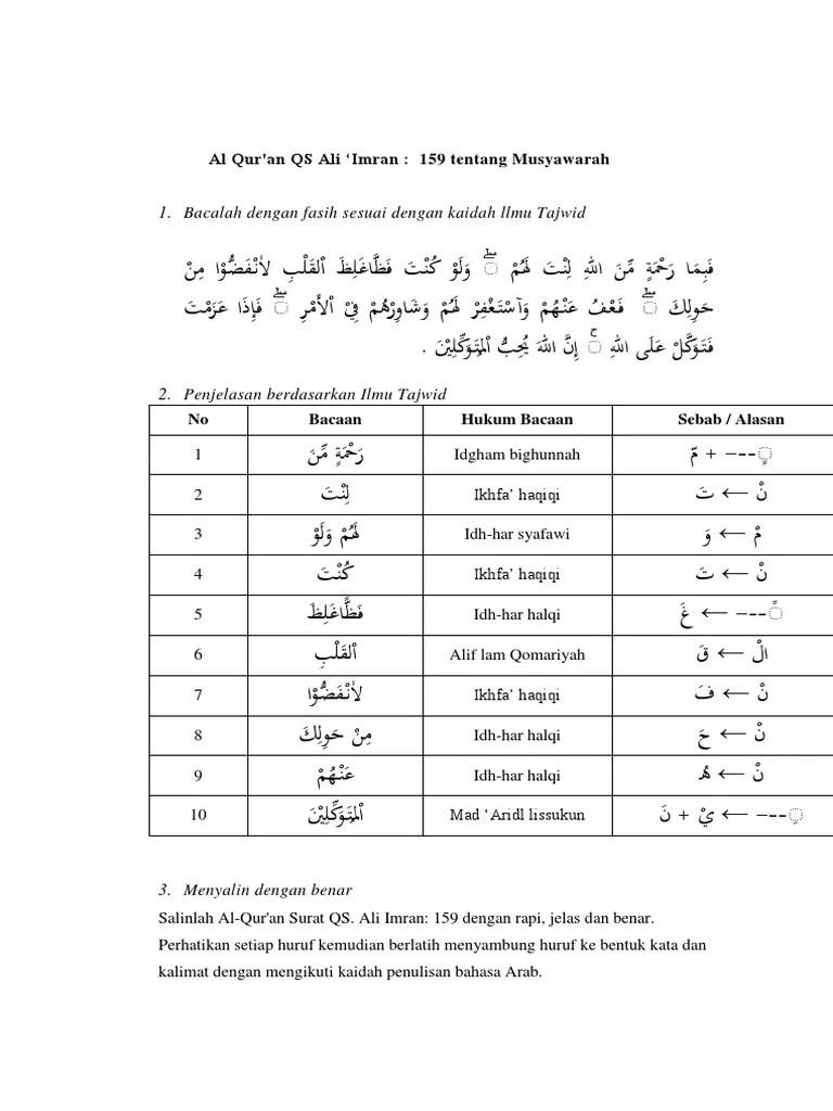 Hukum Tajwid Surat Al Imran Ayat 159 : hukum, tajwid, surat, imran, Imran