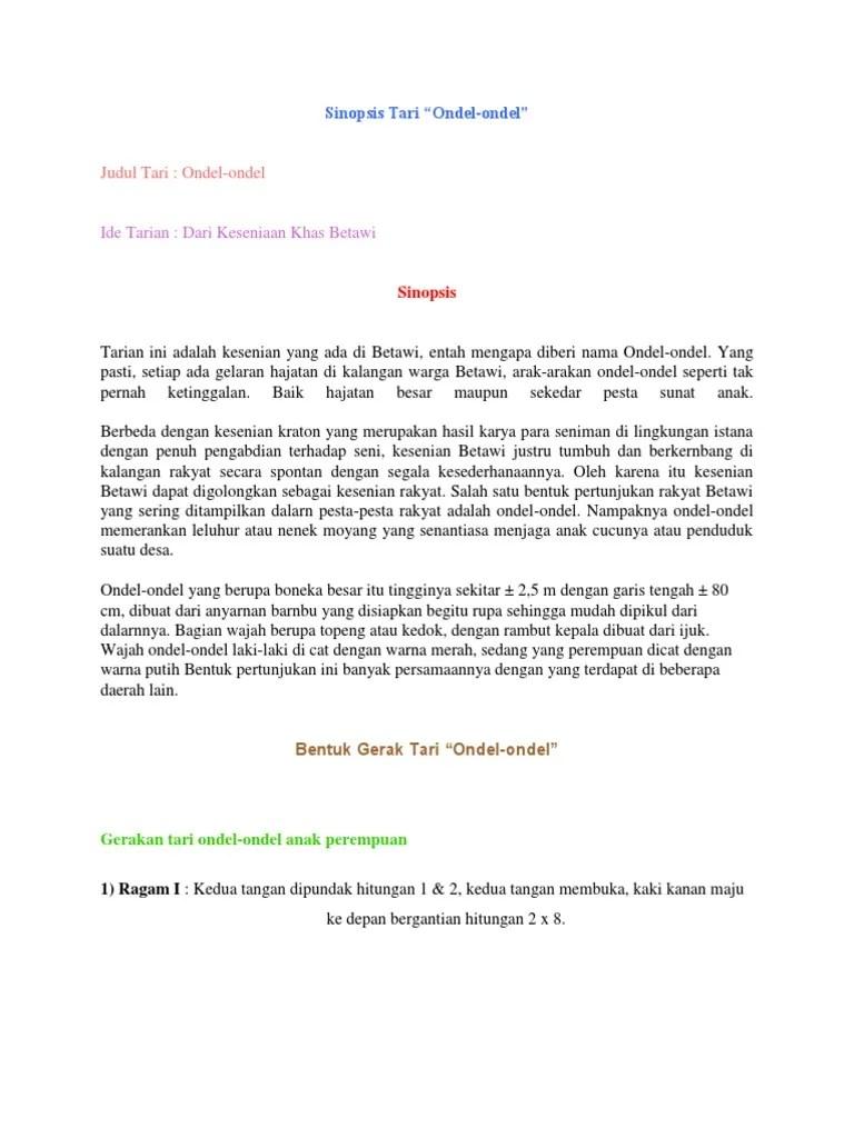 Sinopsis Tari Dibuat Oleh : sinopsis, dibuat, 28549549, Sinopsis, Ondel