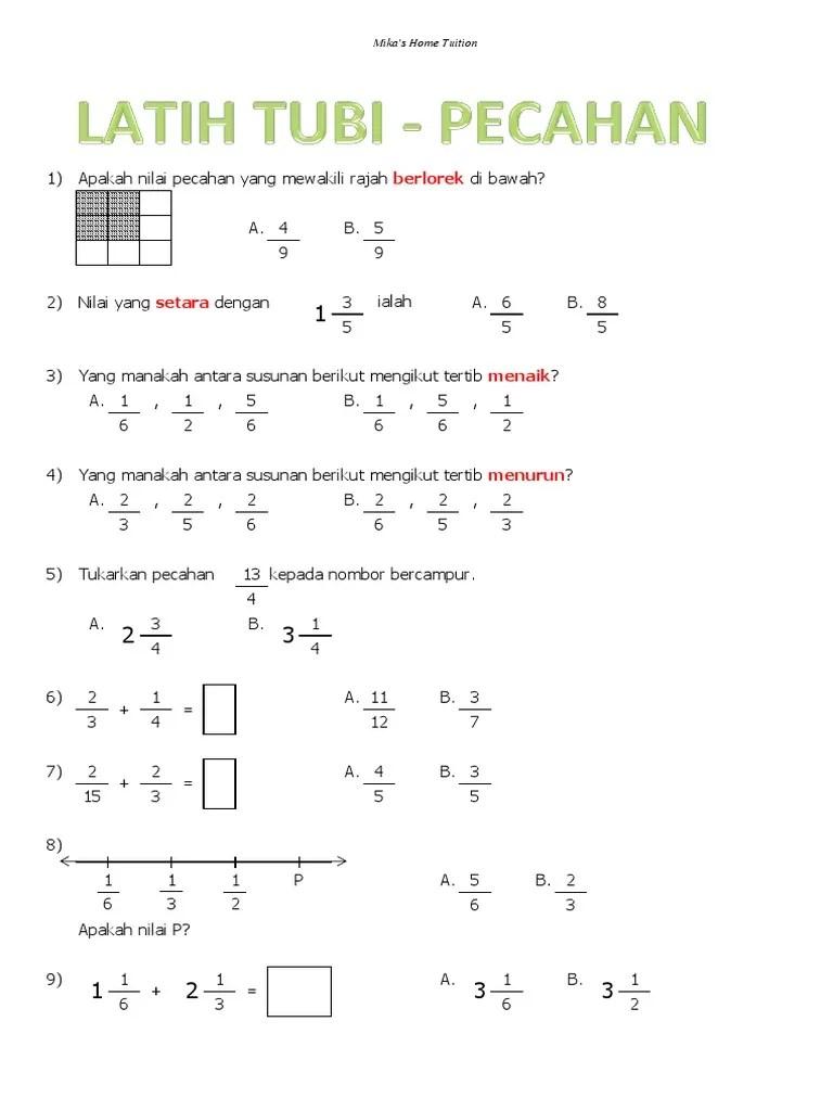 Matematik Tahun 4 Cute766