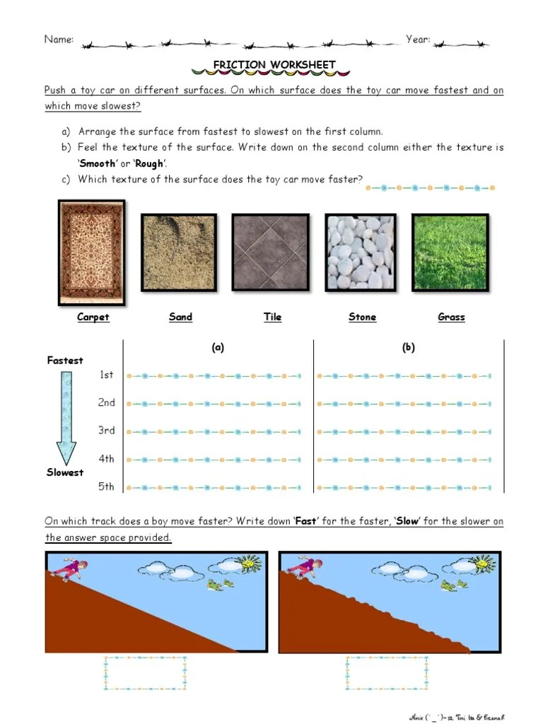 Friction Worksheet 2 [ 1024 x 768 Pixel ]